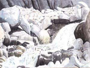 Aquarelle du Valais: Torrent à Zinal 2